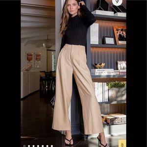 Lulu's Neutral High-waisted Wide Leg Trouser Pants